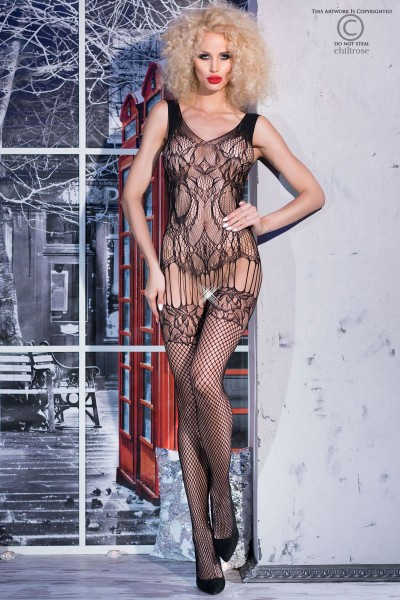 Bodystocking in mesh and lace, guepiere effect with stockings.