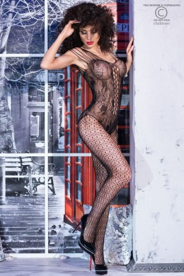 Embroidered bodystocking with body design and multiple straps.