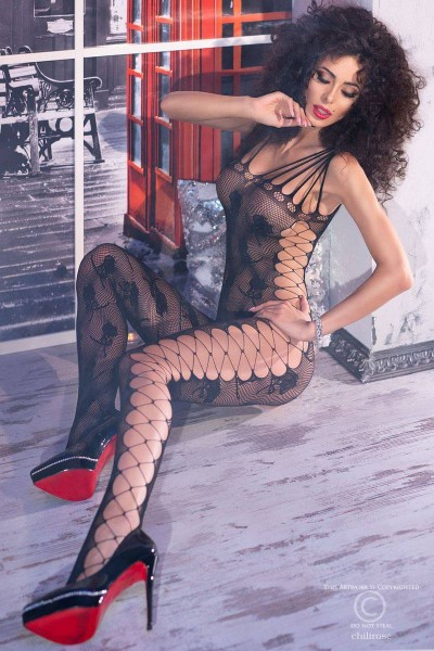 Bodystocking with embroidered rose and side strings.