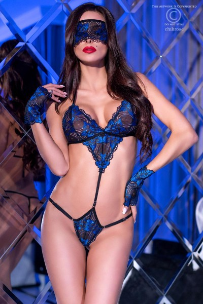 Black/blue lace bodysuit with gloves and blindfold.
