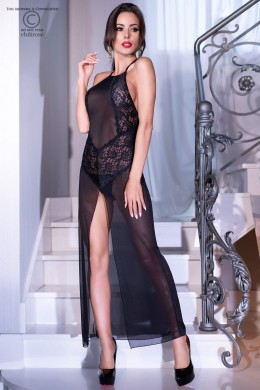 Tulle and folral lace negligè with front deep slit.