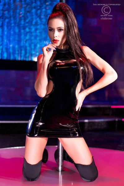 Black wet look mini dress with side openings and bare back.