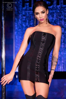 CHILIROSE: sheath mini dress with front lacing.