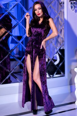 Long purple velvet dress with hood + panty.