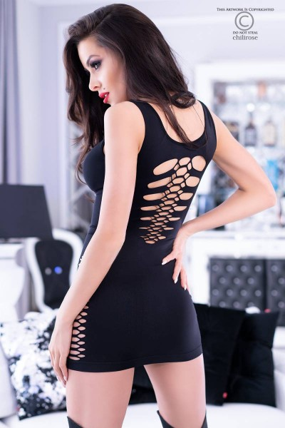 Black mini dress with openings on the sides and back.
