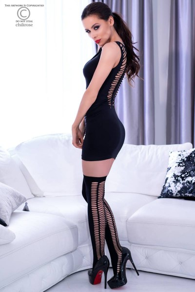 Black stretch mini dress with back cutouts + socks.
