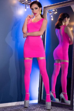Hot pink stretch mini dress with back cutouts + stockings.