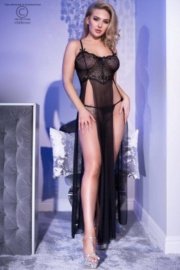 Black tulle and lace négligé with front slits.