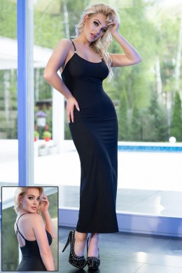 Black Long Dress with rhinestone.