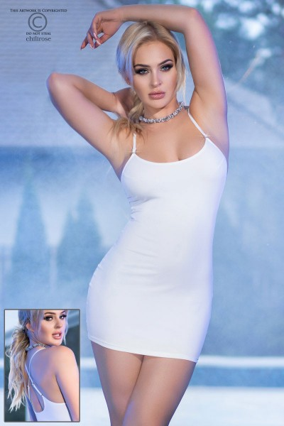 White Mini Dress with rhinestone.