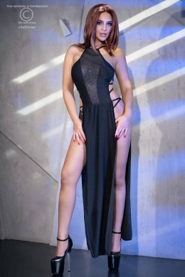 CHILIROSE: long dress with deep slits and front tulle inserts