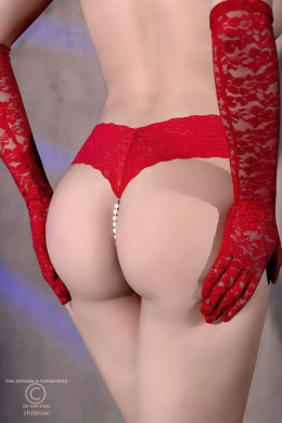 Lace thong with natural pearls + mini vibrator. Red