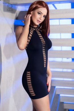 Black stretch mini dress with decorative lacings.