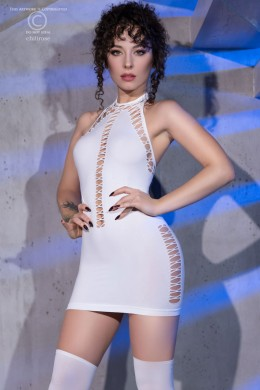 White stretch mini dress with decorative lacings.