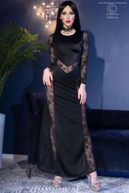 CHILIROSE: long black dress with lace inserts.