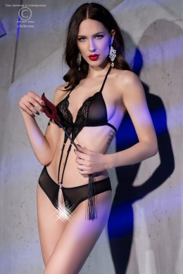 Body in micro-mesh and lace with jewel. Black colour