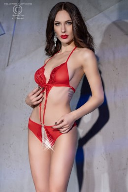 Body in micro-mesh and lace with jewel. Red colour