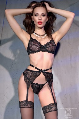 CHILIROSE: lace set 4 pcs. with stocking. Black