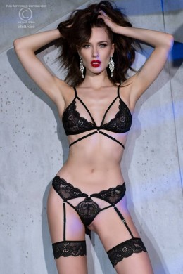 2-piece lace set with built-in garters. Black