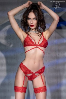 2-piece lace set with built-in garters. Red