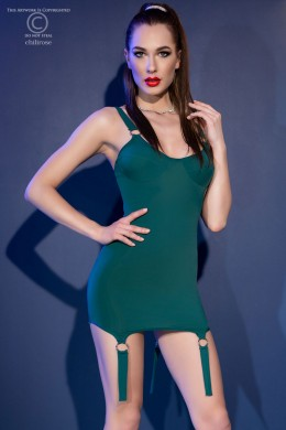 Green mini dress with rings and decorative garters + thong