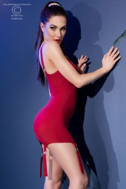 Red mini dress with rings and decorative garters + thong