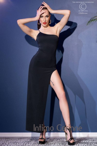 Long one-shoulder dress with slit and thong. Black