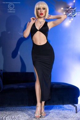 Long dress with slit and bare belly + thong. Black