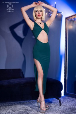 Long dress with slit and bare belly + thong. Green