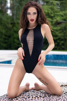 Black seamless body with openings.