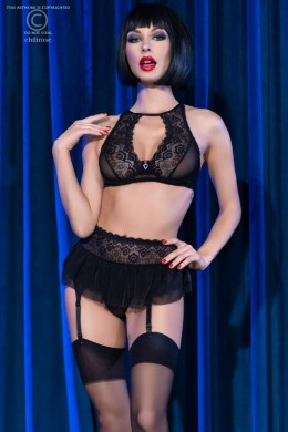 4-piece lingerie set with stockings. Black