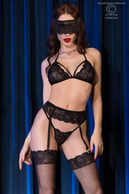 5-piece set with stockings and blindfold. Black