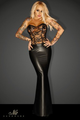 GODDES - powerwetlook dress with lace.