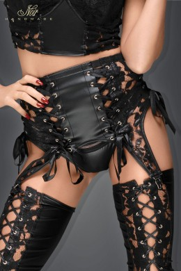 Lace and powerwetlook garter belt with ribbons.