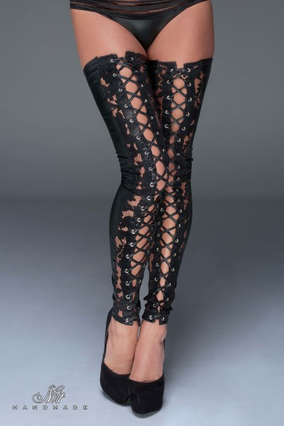 Lace and powerwetlook stockings.