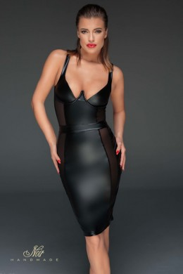 Powerwetlook pencil dress with see-through.
