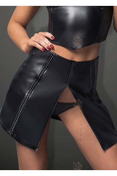 Eco-leather skirt with tape