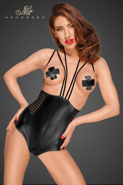 Powerwetlook body with velvet multistraps and chequered tape inserts