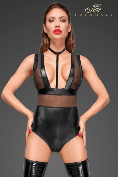 Powerwetlook body with wide straps, tulle inserts and velvet choker