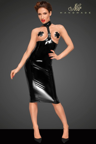 PVC dress with long 2-way zipper on the back and eco leather choker