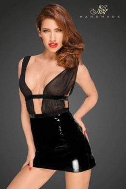 Mini dress with PVC skirt and chiffon top with velvet trims and belt