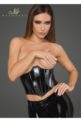 Women's lacquered eco leather corset wit fishbones.
