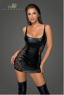 Powerwetlook dress with lace inserts