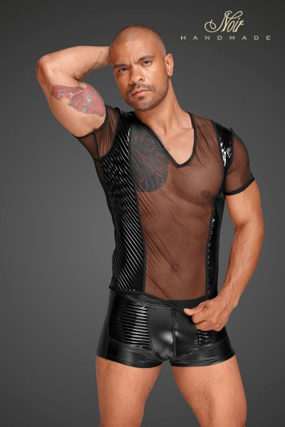 Tulle men's shirt with decorative PVC pleats in the front