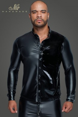Long-sleeved Powerwetlook & PVC shirt with button placket