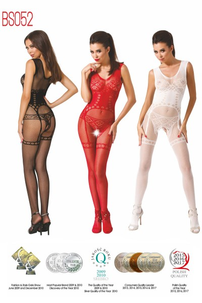Fishnet bodystocking with guepiere design.