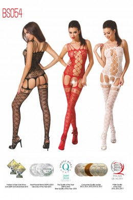 Net bodystocking with strings, guepiere effect.