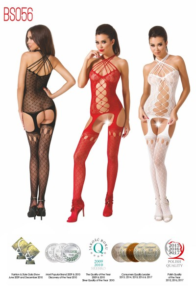 Embroide bodystocking with a wide mesh insert.