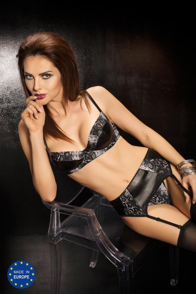 BRAVURO SET lingerie 3 pcs black/gray.