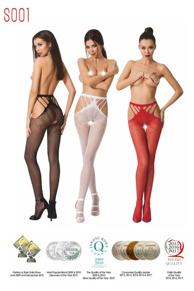 Mesh tights with openings on the sides.